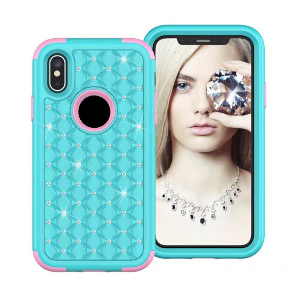 For iPhone X Classical Bling Star Glitter Diamond Armor Case Hybrid 360 Degree Body Shockproof Cover - BLUE