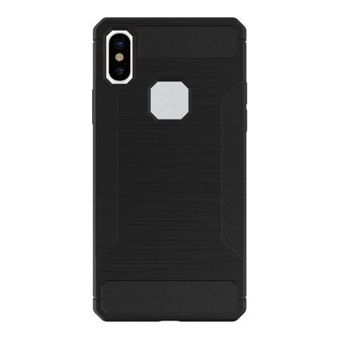 For iPhone X Case Carbon Fiber Antiskid Drawing Back Shell - BLACK