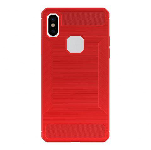 For iPhone X Case Carbon Fiber Antiskid Drawing Back Shell - RED