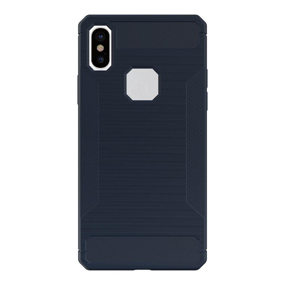 For iPhone X Case Carbon Fiber Antiskid Drawing Back Shell - BLUE
