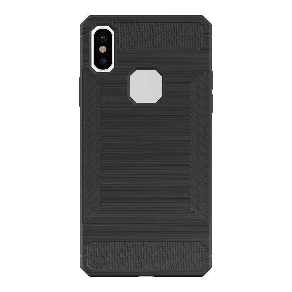 For iPhone X Case Carbon Fiber Antiskid Drawing Back Shell - GRAY