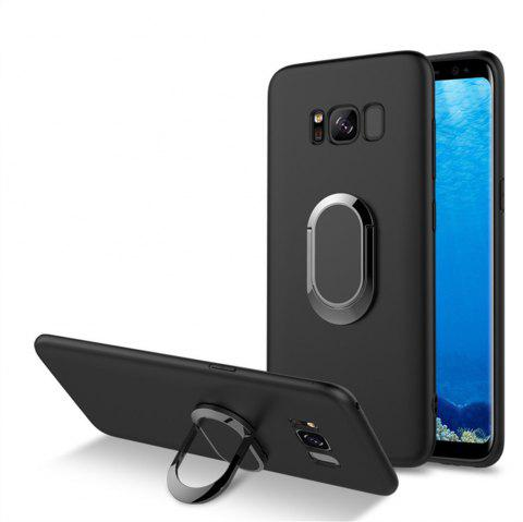 Multifunctional Mobile Phone Case Magnetic Car Holder Kickstand Back Cover Finger Ring Stand for Samsung Galaxy S8 - BLACK