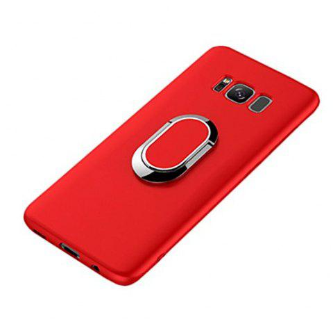 Multifunctional Mobile Phone Case Magnetic Car Holder Kickstand Back Cover Finger Ring Stand for Samsung Galaxy S8 - RED
