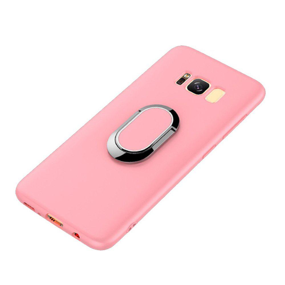 Multifunctional Mobile Phone Case Magnetic Car Holder Kickstand Back Cover Finger Ring Stand for Samsung Galaxy S8 - PINK