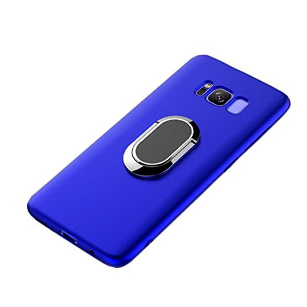 Multifunctional Mobile Phone Case Magnetic Car Holder Kickstand Back Cover Finger Ring Stand for Samsung Galaxy S8 - BLUE