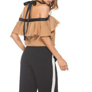 Women'S Top Ruffle Word Shoulder Halter Bow Suspenders  Cami Top - KHAKI KHAKI
