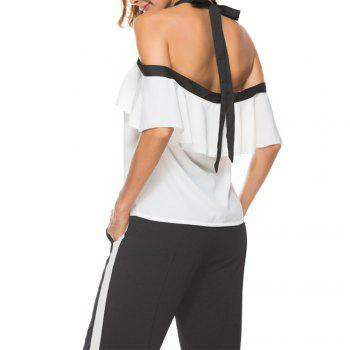 Women'S Top Ruffle Word Shoulder Halter Bow Suspenders  Cami Top - WHITE WHITE