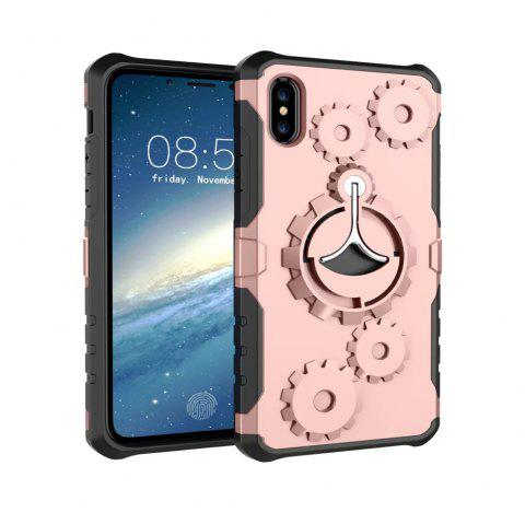 Mechanical Gears Ring Scratch Slim Thin Protection Cover Armband for iPhone X Case - ROSE GOLD