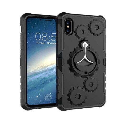 Mechanical Gears Ring Scratch Slim Thin Protection Cover Armband for iPhone X Case - BLACK