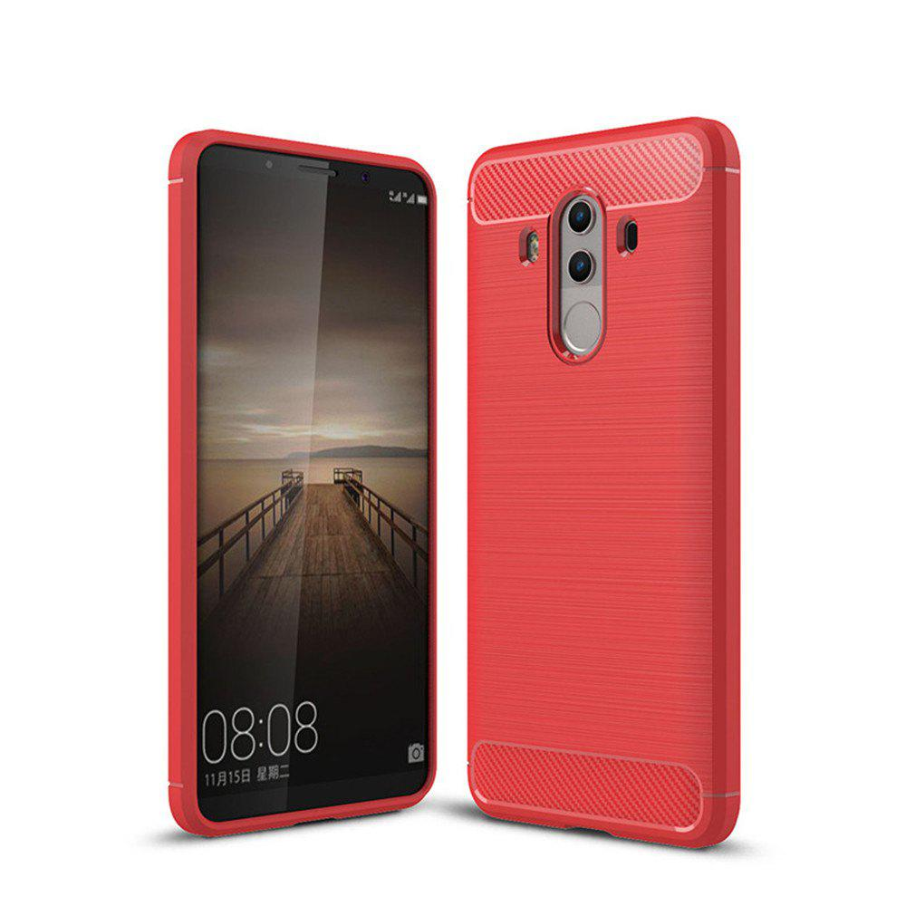 Fundas Carbon Fiber Antislip Rubber Cover for Huawei Mate10 Pro Case - RED