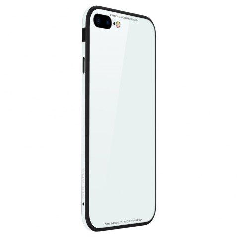Toughened Glass Backboard The Silicone Soft Shell Metal Frame Following From  for iPhone 8 Plus / 7 Plus Case - WHITE