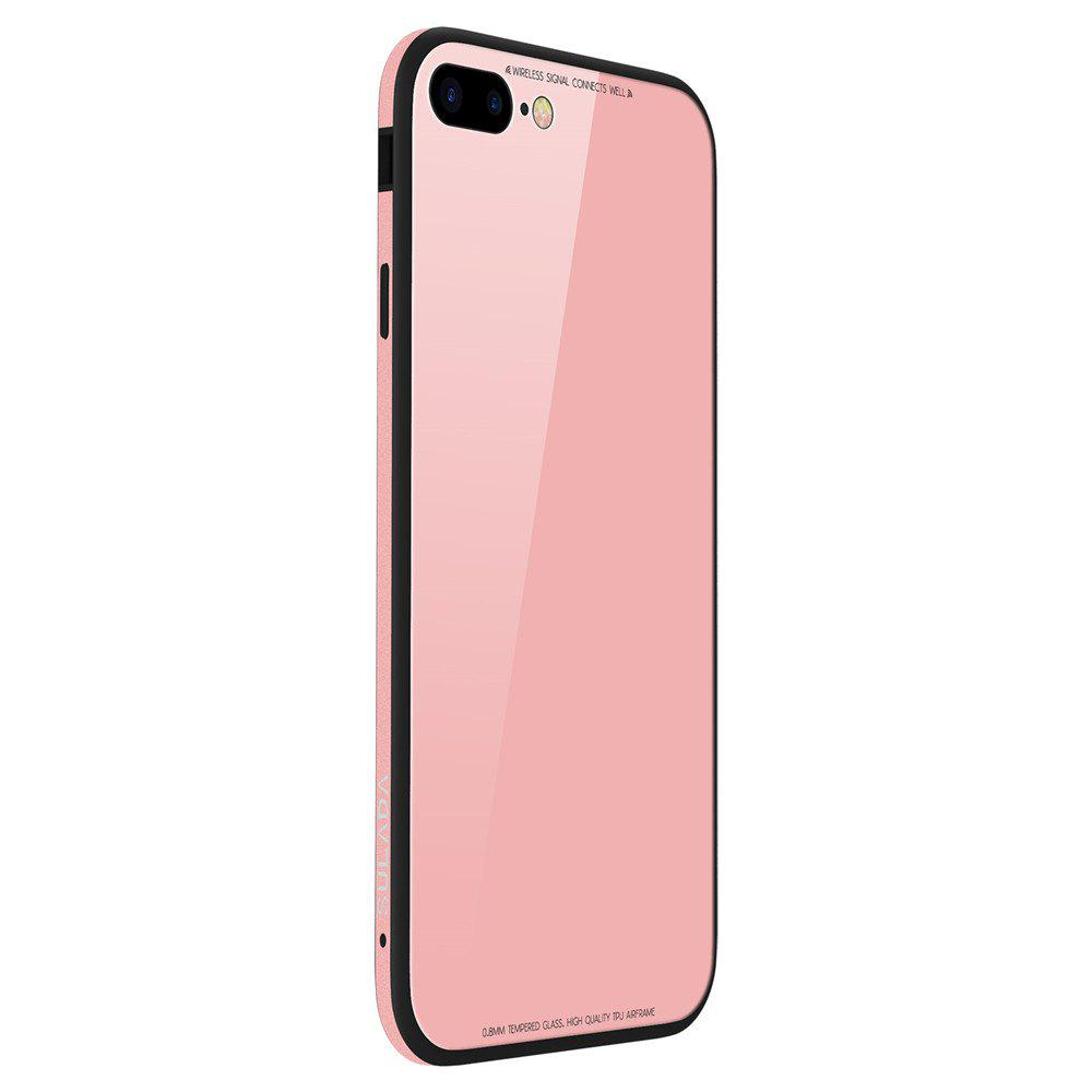 Toughened Glass Backboard The Silicone Soft Shell Metal Frame Following From  for iPhone 8 Plus / 7 Plus Case - PINK