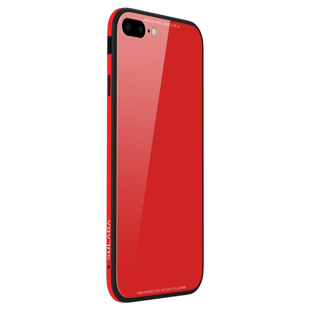 Toughened Glass Backboard The Silicone Soft Shell Metal Frame Following From  for iPhone 8 Plus / 7 Plus Case - RED