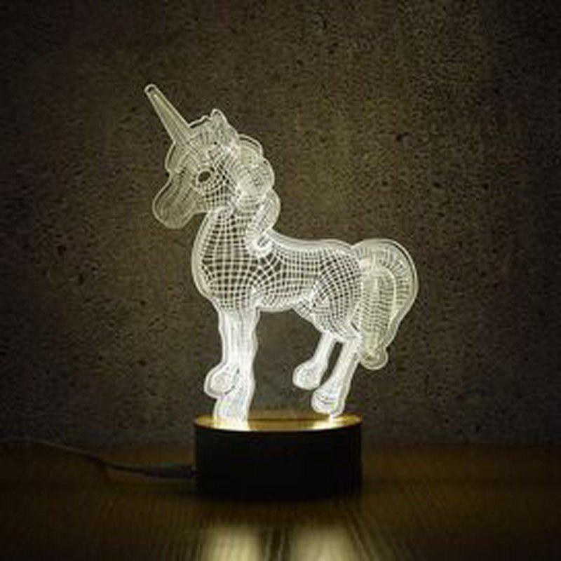 3D Unicorn Night Lights Creative Acrylic 3D LED Light Table Lamp Decotation Ligts for Home/kids Room/gift white - WHITE