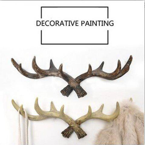 Retro Country Style Resin Antlers Wall Hanging Wall Decoration Creative Clothes Hat Support for Home - BROWN