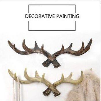 Retro Country Style Resin Antlers Wall Hanging Wall Decoration Creative Clothes Hat Support for Home - BROWN BROWN