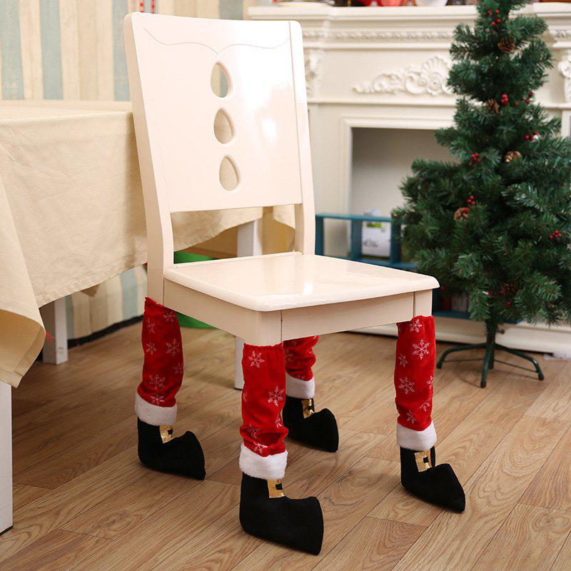 4pcs Christmas Table Leg Covers Santa Claus Feet Shoes Legs Party Decorations - RED