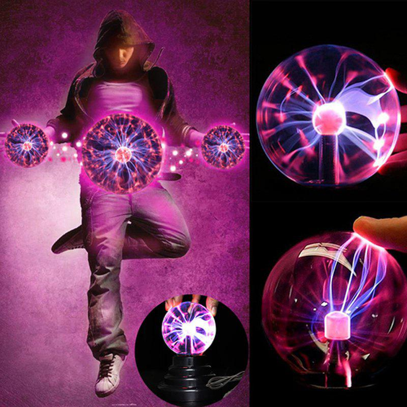 USB Magic Black Base Glass Plasma Ball Sphere Lightning Party Lamp Light ac powered plasma ball red light lightning sphere 220v eu plug