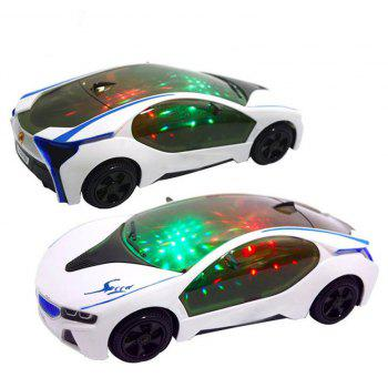 3D LED Flashing Light Car Toys Music Sound Electric Toy - WHITE