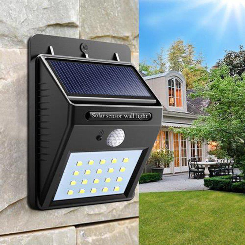 Great Gift for Christmas Solar Powered Waterproof 20 LED Motion Sensor Wall Light for Patio Garden - BLACK