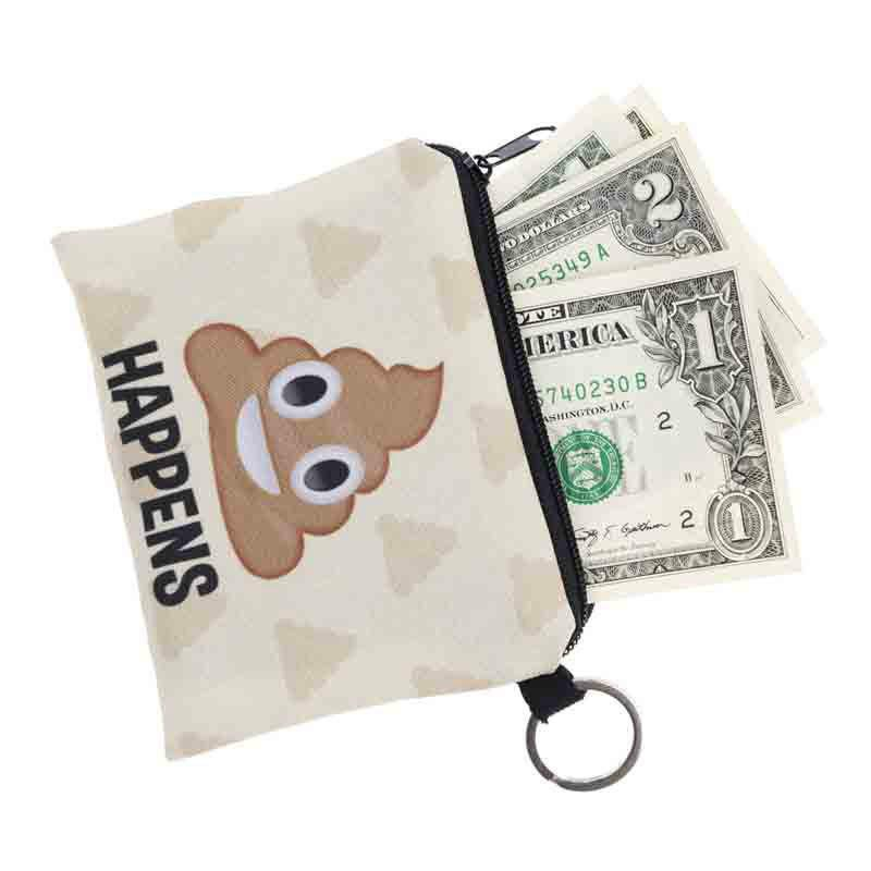 Women Fashion Emoji Coin Purse European Style Handbag Storage Bag Small Canvas Wallet - BEIGE