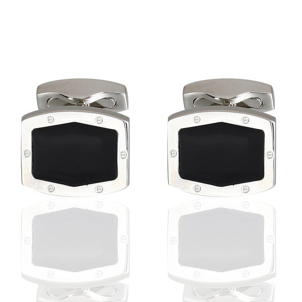 Luxury French Shirt Cufflinks Black Enamel Cuff Links - BLACK