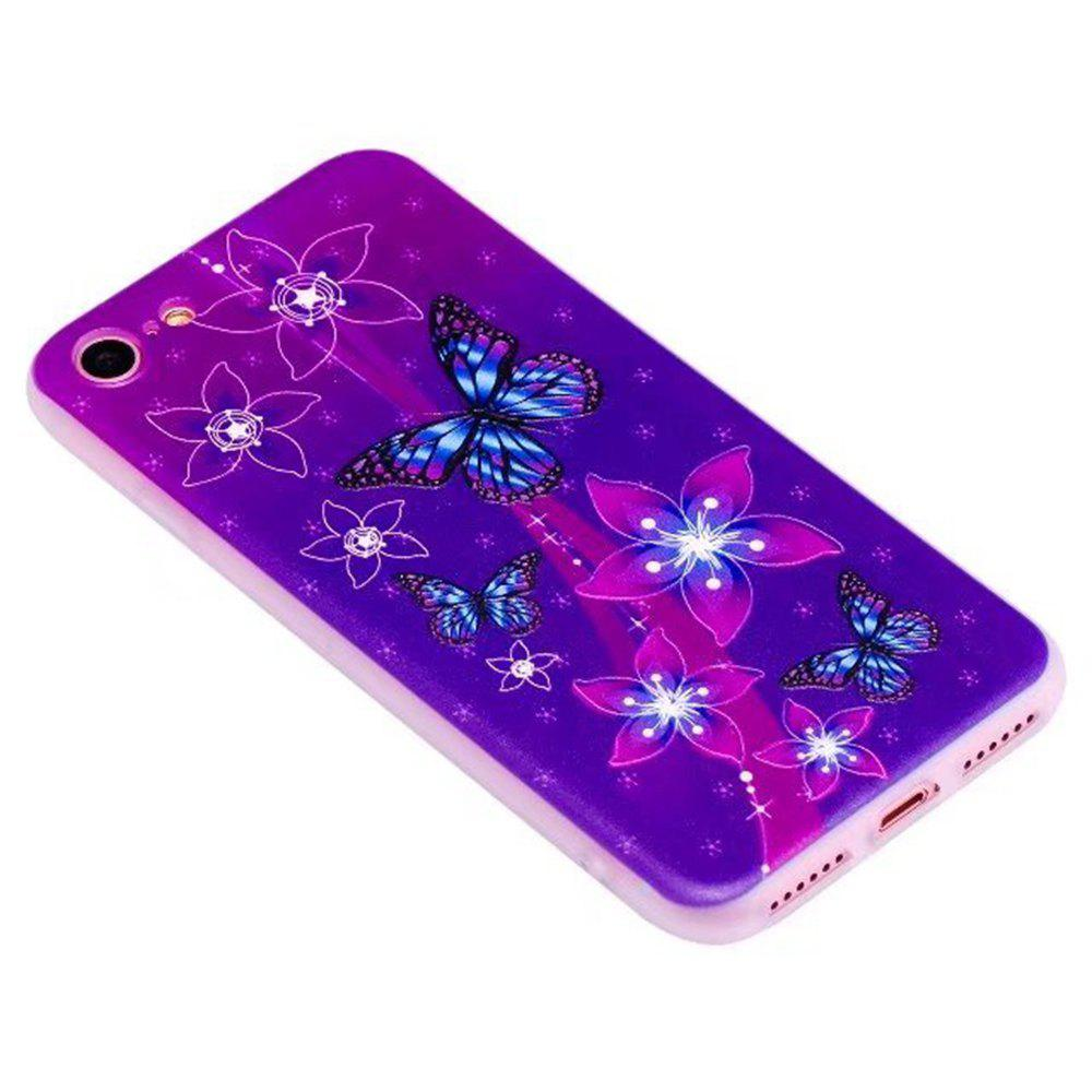 Color Pattern Soft TPU Back Phone Case for iPhone 8 - PURPLE