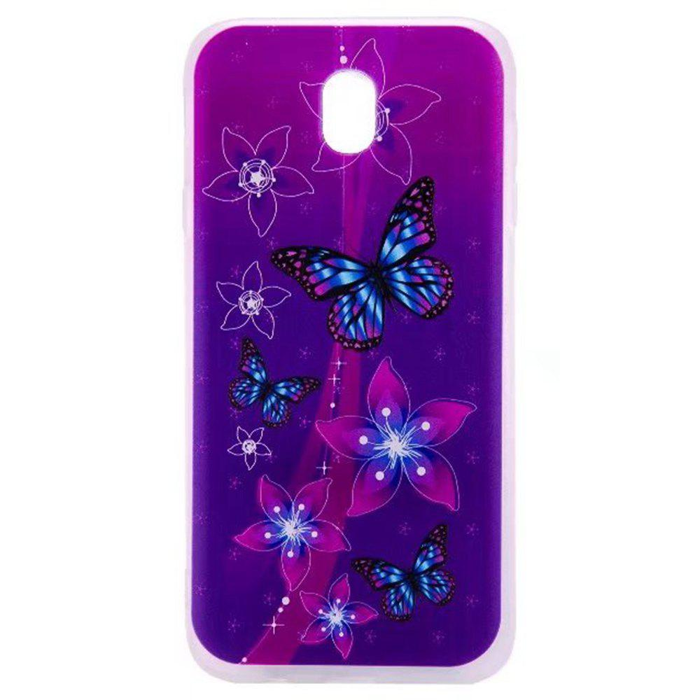 Color Pattern Soft TPU Back Phone Case for Samsung Galaxy J7 European Version - PURPLE