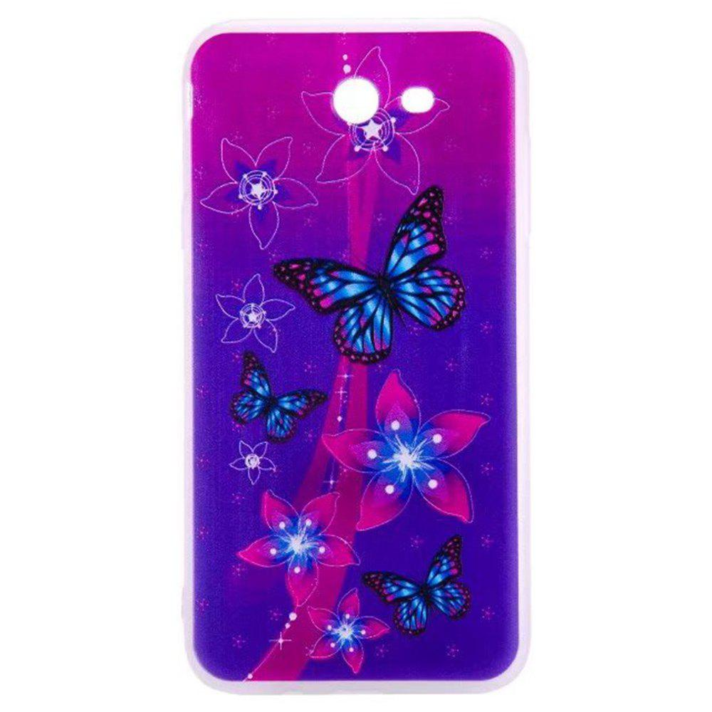 Color Pattern Soft TPU Back Phone Case for Samsung Galaxy J7 American - PURPLE