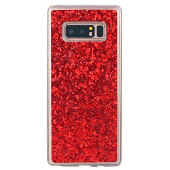 Shockproof Glitter Sparkly Dual Layer Hybrid Hard Soft TPU Bumper Anti-Slip Protective Case for Samsung Galaxy Note 8 -  RED