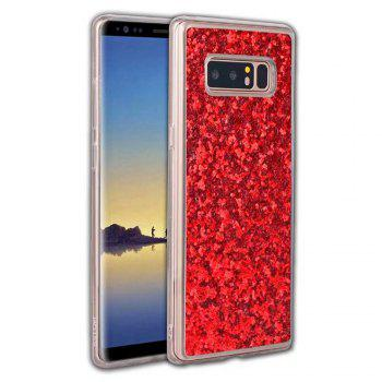 Shockproof Glitter Sparkly Dual Layer Hybrid Hard Soft TPU Bumper Anti-Slip Protective Case for Samsung Galaxy Note 8 - RED RED