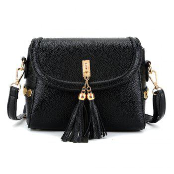 Women's Crossbody Trendy Solid Metal Ornament Pendant Sterling Bag - BLACK