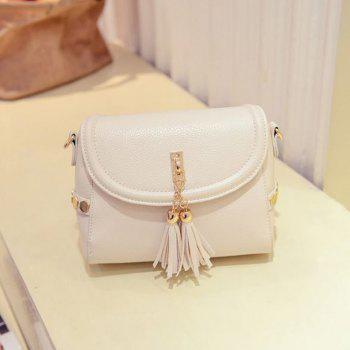 Women's Crossbody Trendy Solid Metal Ornament Pendant Sterling Bag - WHITE