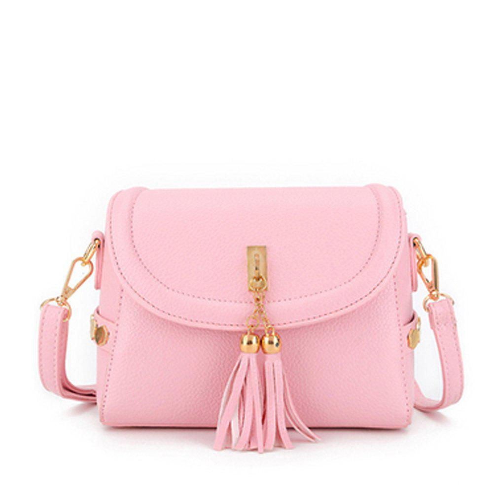 Women's Crossbody Trendy Solid Metal Ornament Pendant Sterling Bag - PINK