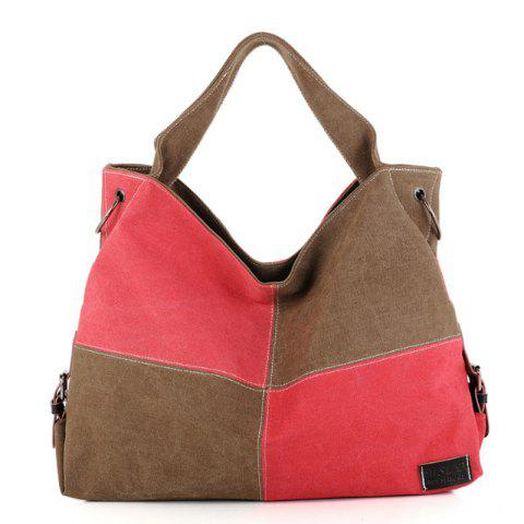 Women's Handbag Classic Vintage Color Patchwork Large Capacity Casual Bag - ROSE RED