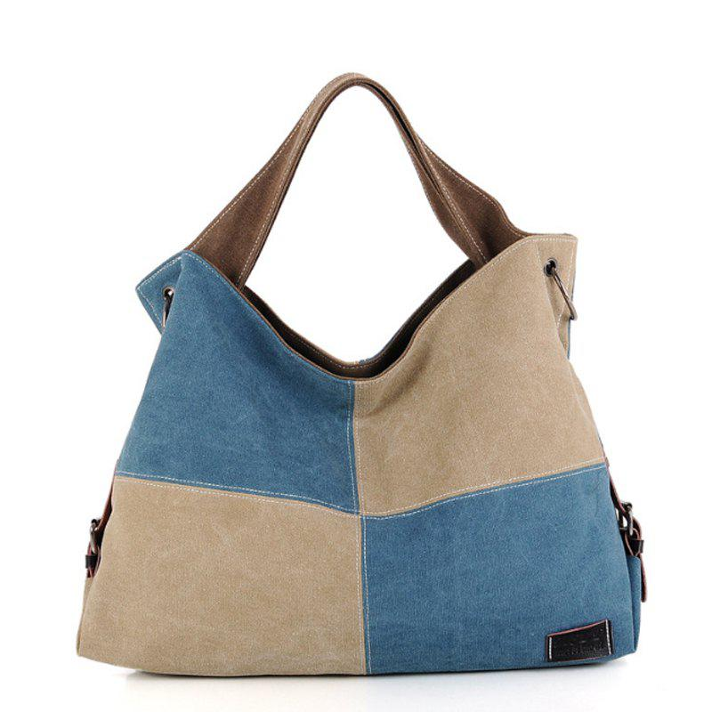 Women's Handbag Classic Vintage Color Patchwork Large Capacity Casual Bag - BLUE