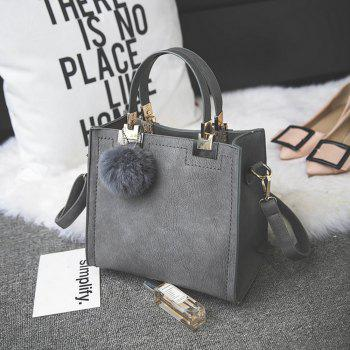 Women's Handbag Matting Brief Style Sterling Fluffy Ball Embossed Bag - GRAY