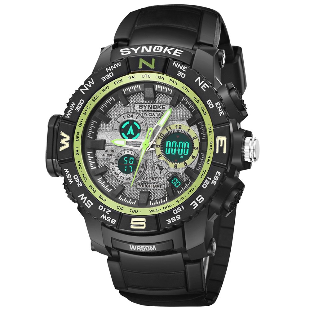 Montre électronique masculine d'étudiant d'alpinisme de sports en plein air de SYNOKE 6509 - Vert