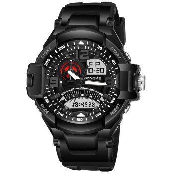 SYNOKE 67876 Trendy Waterproof Multifunctionable Men Watch - BLACK BLACK
