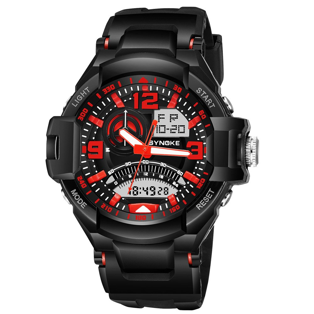 SYNOKE 67876 Trendy Waterproof Multifunctionable Men Watch - RED