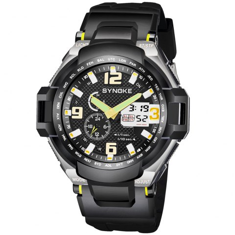SYNOKE 67606 Outdoor Mountaineering Multifunction Men Watch - YELLOW