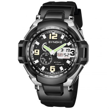 SYNOKE 67606 Outdoor Multifunctionable Student Electronic Male Watch - BLACK BLACK