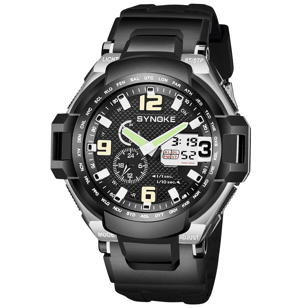 SYNOKE 67606 Outdoor Mountaineering Multifunction Men Watch - BLACK