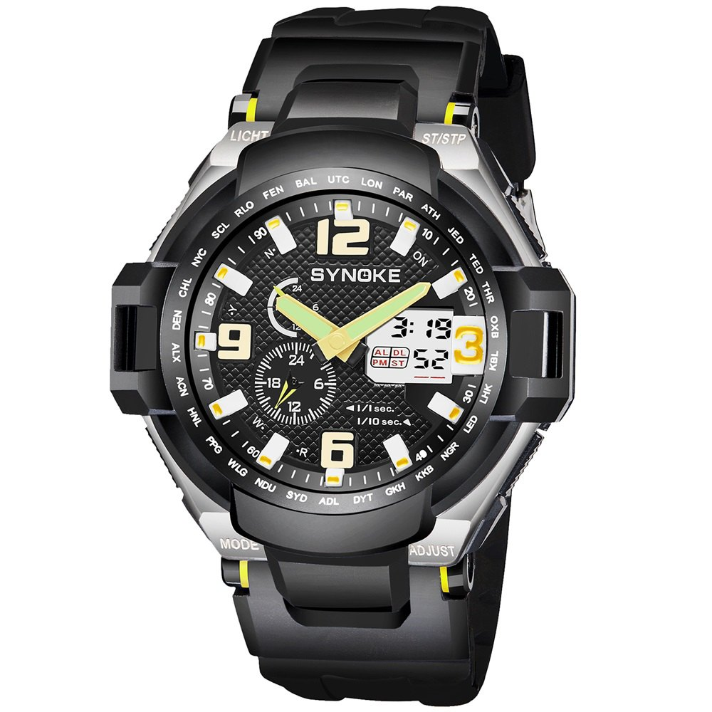SYNOKE 67606 Outdoor Multifunctionable Student Electronic Male Watch - YELLOW