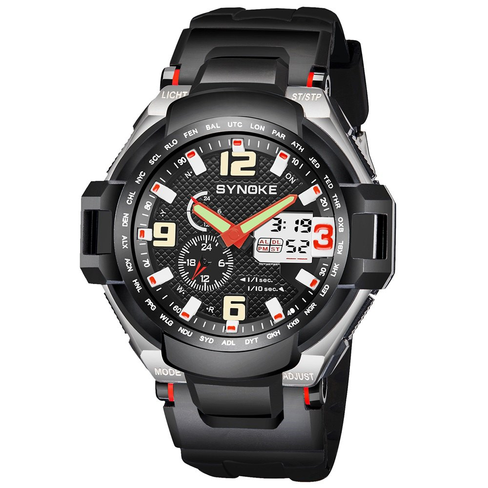 SYNOKE 67606 Outdoor Multifunctionable Student Electronic Male Watch - RED