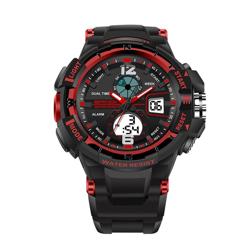 SANDA Large 5319 Fashion Outdoor Sports Men Watch Luminous Watch with Box - RED