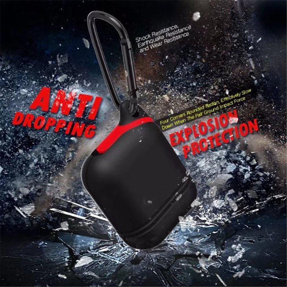 for Apple AirPods Case Silicone Shock Proof Protector Sleeve Skin Cover True Wireless Earphone - BLACK