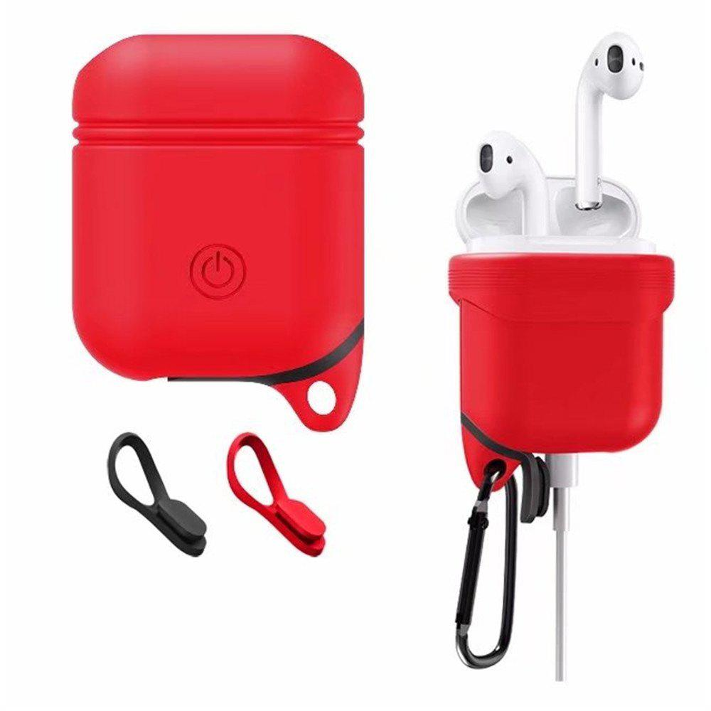 for Apple AirPods Case Silicone Shock Proof Protector Sleeve Skin Cover True Wireless Earphone - RED