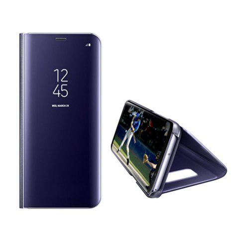 Electroplate Clear Smart Kickstand Mirror View Flip Cover Sleep wake Phone Case Screen Protector for Samsung Galaxy S8 - PURPLE