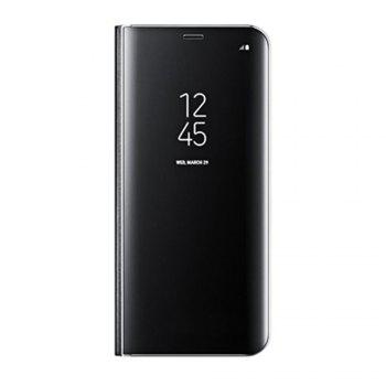 Electroplate Clear Smart Kickstand Mirror View Flip Cover Sleep wake Phone Case Screen Protector for Samsung Galaxy S8 - BLACK